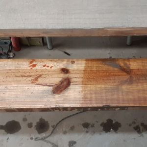 Guard-Wash-Express before and after on wood apllication
